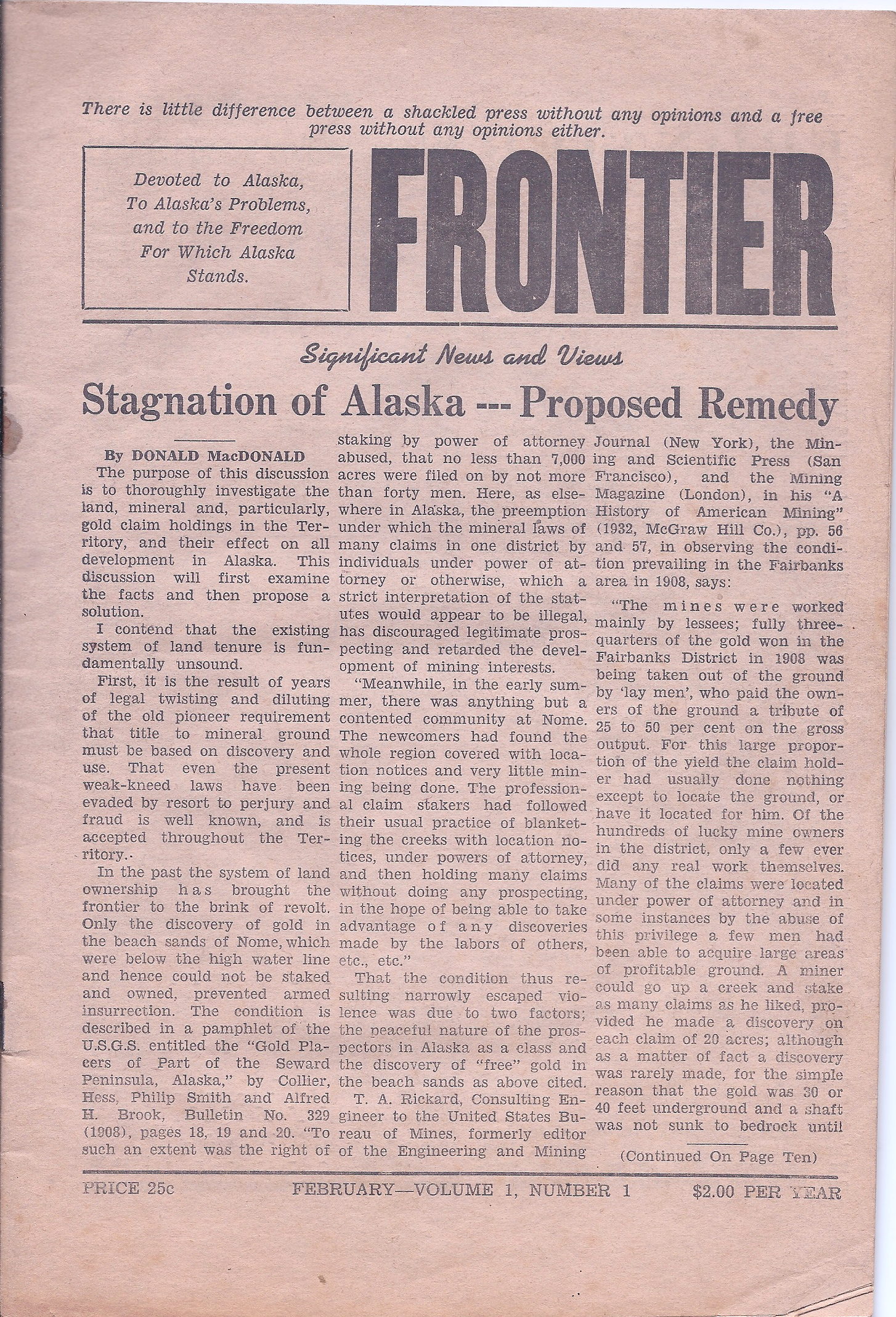 Frontier Vol 1 Number 1: Febuary 1940